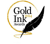 Logo of the Gold Ink Awards for outstanding print quality in 2013.